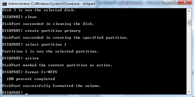 Результат выполнения команды format fs=NTFS