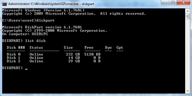 Результат выполнения команды list disk