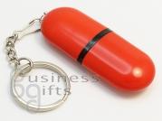 Красный флеш накопитель в виде таблетка, под нанесение логотипа