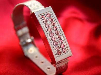 Флешка браслет с розовыми стразами