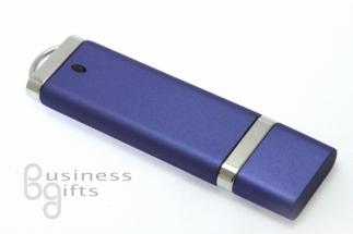 Синяя пластиковая флешка с хромовыми вставками (матовая).