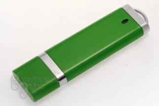 Прямоугольная зеленая флешка с хромовыми вставками